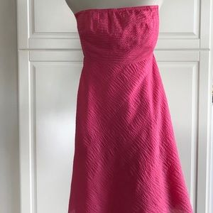 J. Crew hot pink seersucker dress size 2 petite